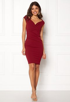 Goddiva Bardot Pleat Midi Dress Wine Bubbleroom.dk