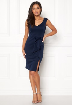 Goddiva Bow Detail Midi Dress Navy Bubbleroom.dk