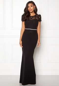 Goddiva Cap Sleeve Lace Dress Black Bubbleroom.dk