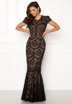 Goddiva Cap Sleeve Lace Dress Black/nude Bubbleroom.dk