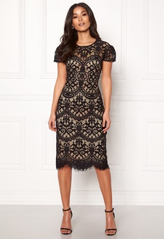 Goddiva Cap Sleeve Lace Dress Black/nude Bubbleroom.dk