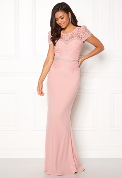 Goddiva Cap Sleeve Lace Dress Blush Bubbleroom.dk