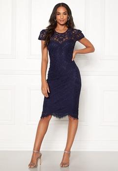 Goddiva Cap Sleeve Lace Dress Navy Bubbleroom.dk