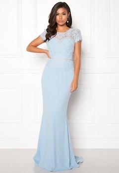 Goddiva Cap Sleeve Lace Dress Powder Blue Bubbleroom.dk