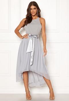 Goddiva Chiffon High Low Dress Grey Bubbleroom.dk
