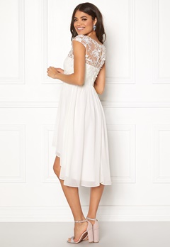 Goddiva Chiffon High Low Dress White Bubbleroom.dk