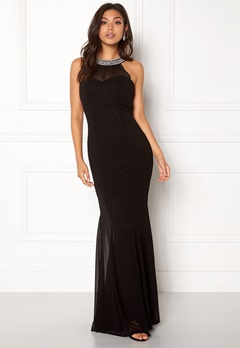 Goddiva Chiffon Maxi Dress Black Bubbleroom.dk