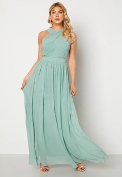 Goddiva Cross Front Chiffon Maxi Dress Sage Green bubbleroom.dk