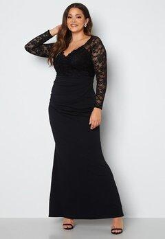 Goddiva Curve Long Sleeve Lace Trim Maxi Dress Black bubbleroom.dk