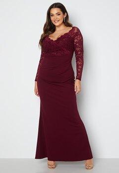 Goddiva Curve Long Sleeve Lace Trim Maxi Dress Dark Wine bubbleroom.dk
