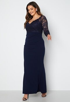 Goddiva Curve Long Sleeve Lace Trim Maxi Dress Navy bubbleroom.dk