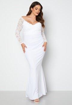 Goddiva Curve Long Sleeve Lace Trim Maxi Dress White bubbleroom.dk