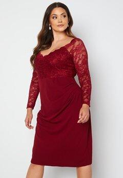 Goddiva Curve Long Sleeve Lace Trim Midi Dress Wine bubbleroom.dk