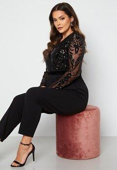 Goddiva Curve Sequin Bodice Jumpsuit Black bubbleroom.dk