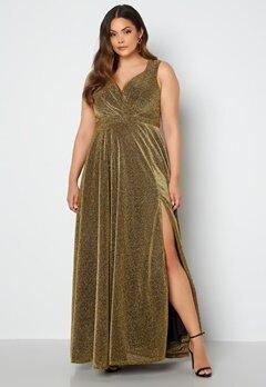 Goddiva Curve Wrap Front Sleeveless Maxi Curve Dress With Split Gold bubbleroom.dk