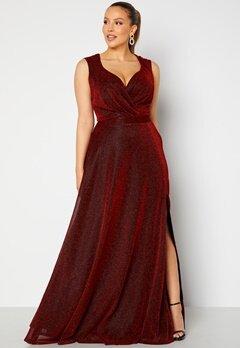 Goddiva Curve Wrap Front Sleeveless Maxi Curve Dress With Split Red bubbleroom.dk