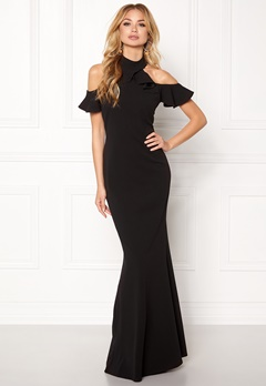 Goddiva Cut Out Maxi Dress Frill Black Bubbleroom.dk