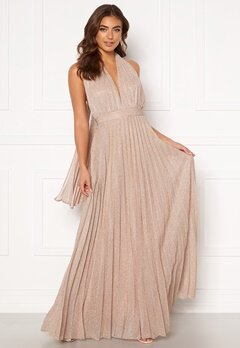 Goddiva Deep V Neck Glitter Dress Blush Bubbleroom.dk
