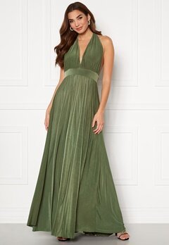 Goddiva Deep V Neck Maxi Dress Olive Bubbleroom.dk