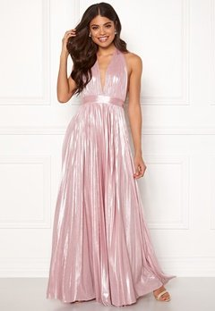 Goddiva Deep V Neck Metallic Dress Pink Bubbleroom.dk