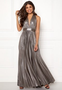 Goddiva Deep V Neck Metallic Dress Silver Bubbleroom.dk