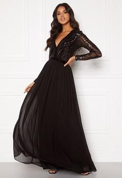 Goddiva Deep V Sequin Maxi Dress Black Bubbleroom.dk