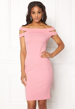 Goddiva Double Bardot Midi Dress Pink Bubbleroom.dk