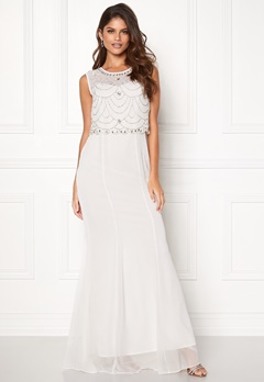 Goddiva Embellished Chiffon Dress Cream Bubbleroom.dk