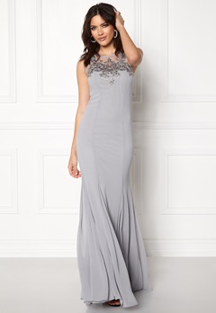 Goddiva Embellished Chiffon Dress Silver Bubbleroom.dk