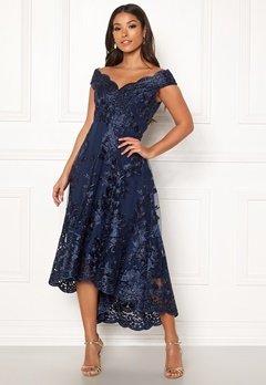 Goddiva Embroidered Lace Dress Navy Bubbleroom.dk
