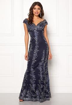 Goddiva Embroidered Lace Dress Navy/silver Bubbleroom.dk