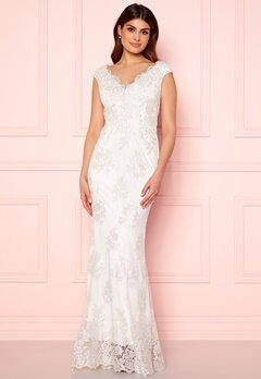Goddiva Embroidered Lace Dress White Bubbleroom.dk