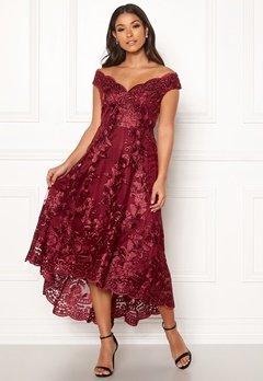 Goddiva Embroidered Lace Dress Wine Bubbleroom.dk