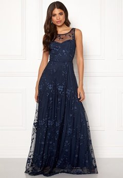 Goddiva Embroidered Maxi Dress Navy Bubbleroom.dk