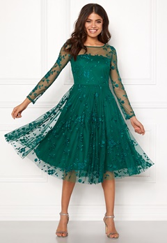 Goddiva Embroidered Midi Dress Emerald Bubbleroom.dk