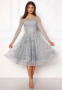 426ece6b089f Goddiva Embroidered Midi Dress Grey Bubbleroom.dk