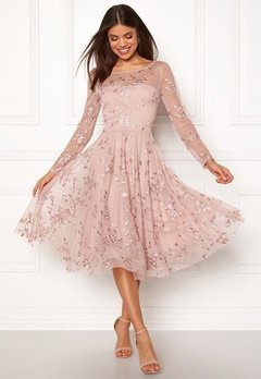 Goddiva Embroidered Midi Dress Misty Rose Bubbleroom.dk