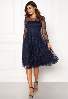 Goddiva Embroidered Midi Dress Navy Bubbleroom.dk