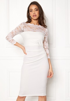 Goddiva Fitted Midi Dress White Bubbleroom.dk