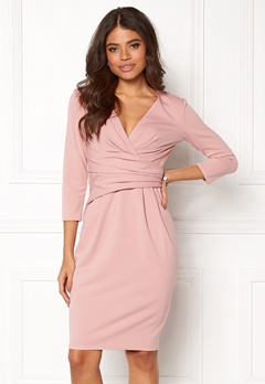 Goddiva Fitted Pleated Midi Dress Blush Bubbleroom.dk