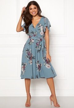 Goddiva Floral Flutter Midi Dress Air force Blue Bubbleroom.dk
