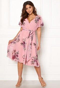 Goddiva Floral Flutter Midi Dress Peach Bubbleroom.dk