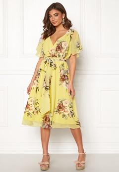 Goddiva Floral Flutter Midi Dress Soft Lemon Bubbleroom.dk