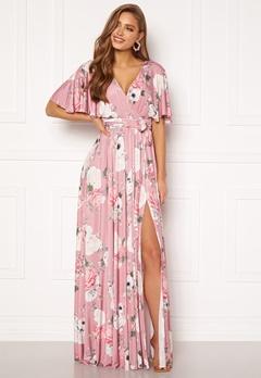 Goddiva Floral Flutter Sleeve Maxi Dress Blush Bubbleroom.dk