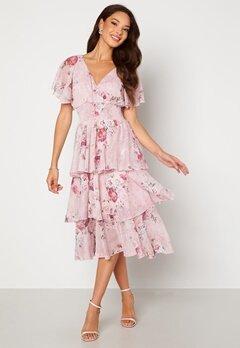 Goddiva Floral Flutter Tiered Midi Dress Blush Bubbleroom.dk
