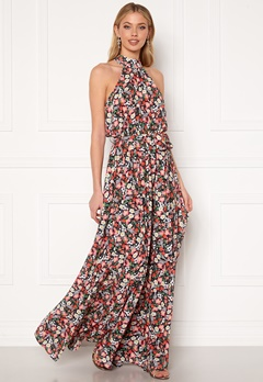 Goddiva Floral High Neck Maxi Dress Black Bubbleroom.dk
