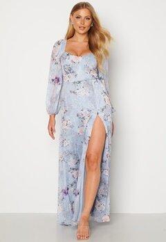 Goddiva Floral Long Sleeve Maxi Dress Blue bubbleroom.dk