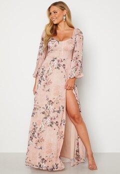 Goddiva Floral Long Sleeve Maxi Dress Blush bubbleroom.dk