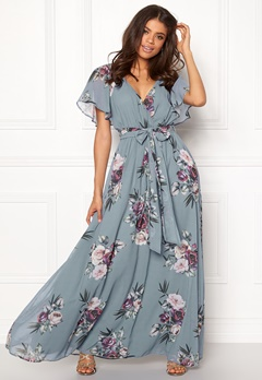 Goddiva Floral Sleeve Maxi Dress Air Force Blue Bubbleroom.dk