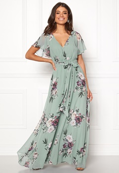 Goddiva Floral Sleeve Maxi Dress Duck Egg Bubbleroom.dk